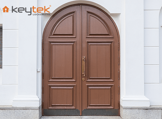 Arched, old style wooden door