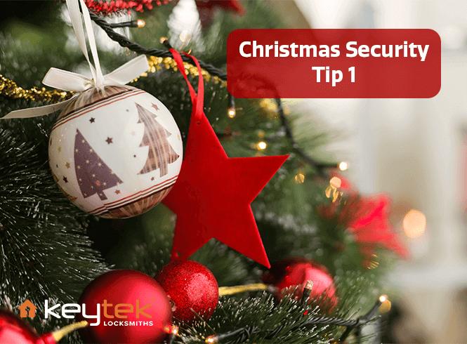 2 Christmas ball balls hung on a christmas tree with the text: Christmas Security tip 1