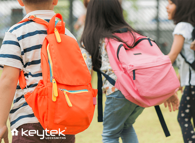 Children with different coloured backpacks