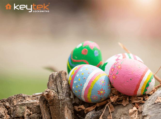 multicoloured easter eggs sat on wood