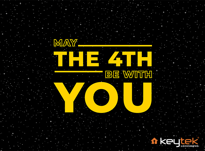 May the 4th be with you wording on a starry background