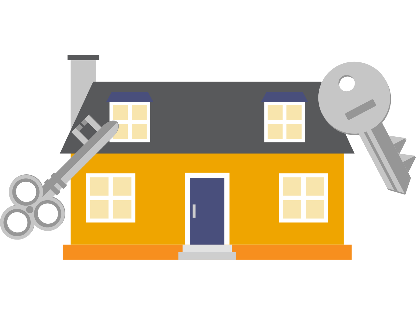 vector of house with keys outside