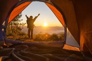 camping, sunrise