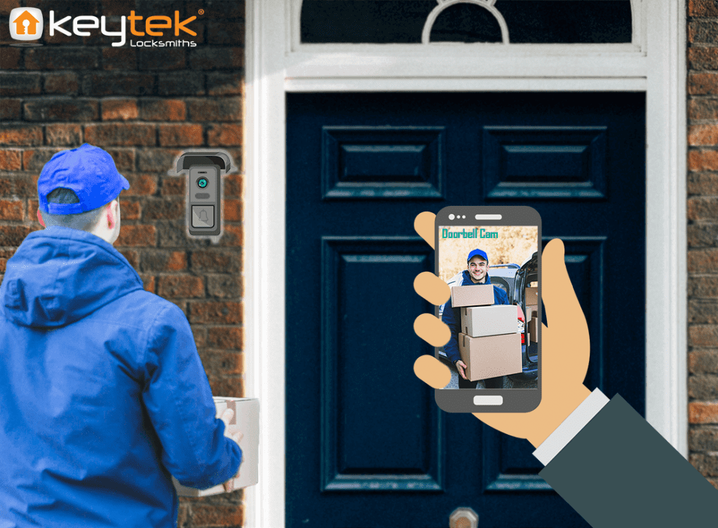 looking on smart doorbell app delivery driver