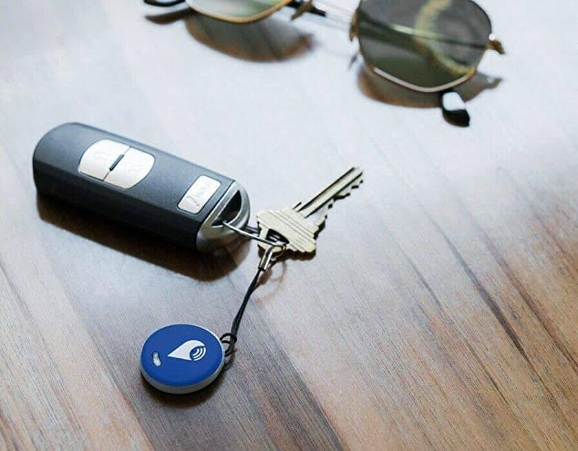 TrackR Pixel key tracker on a set of keys