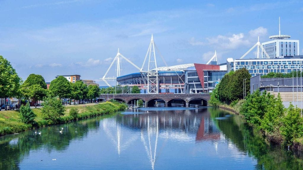 cardiff city over the water