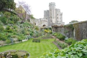 Windsor castle in background with garden in foreground