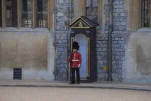 Queens guard stood at the door of Windsor Castle