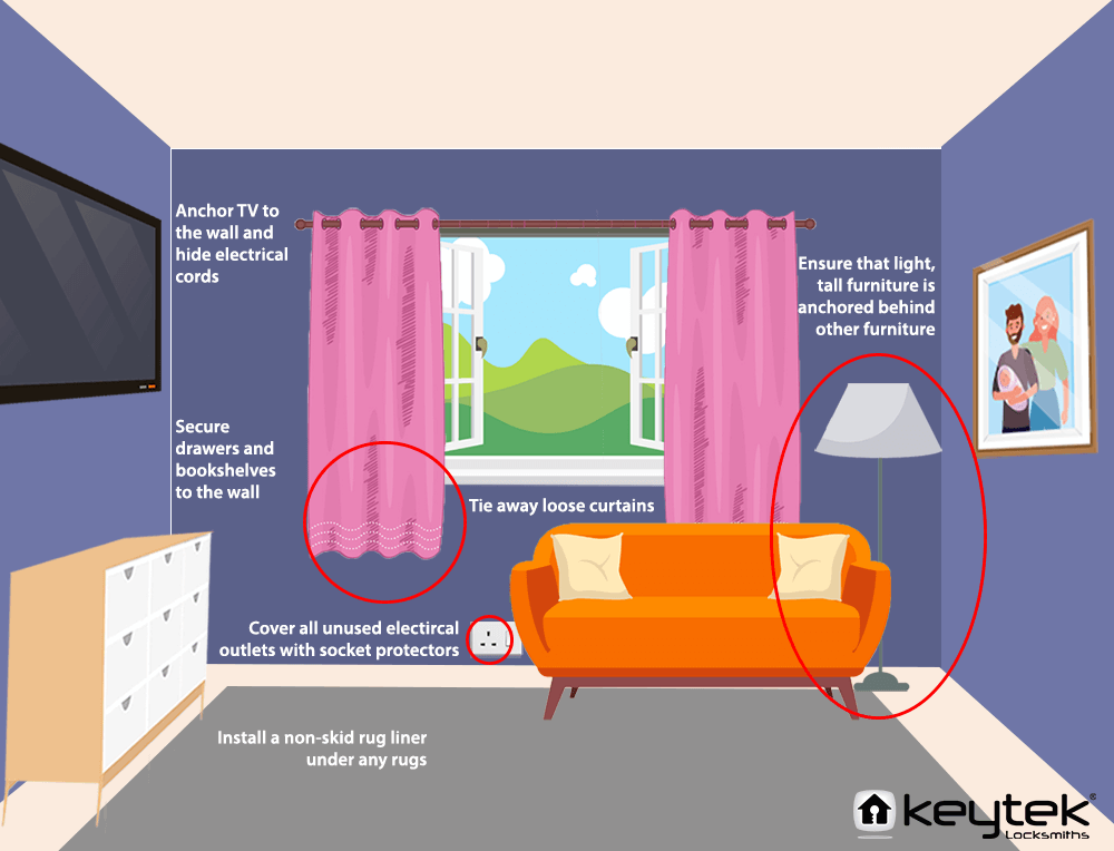 vector graphic of a lounge highlighting baby proof ideas