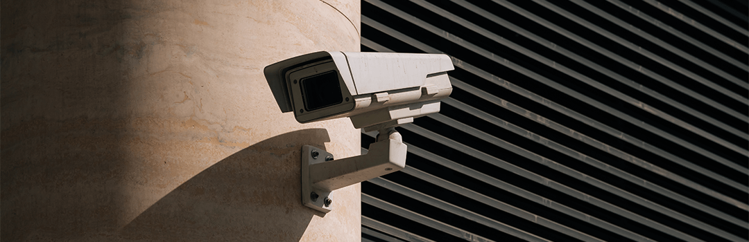 Bullet camera installed on the wall