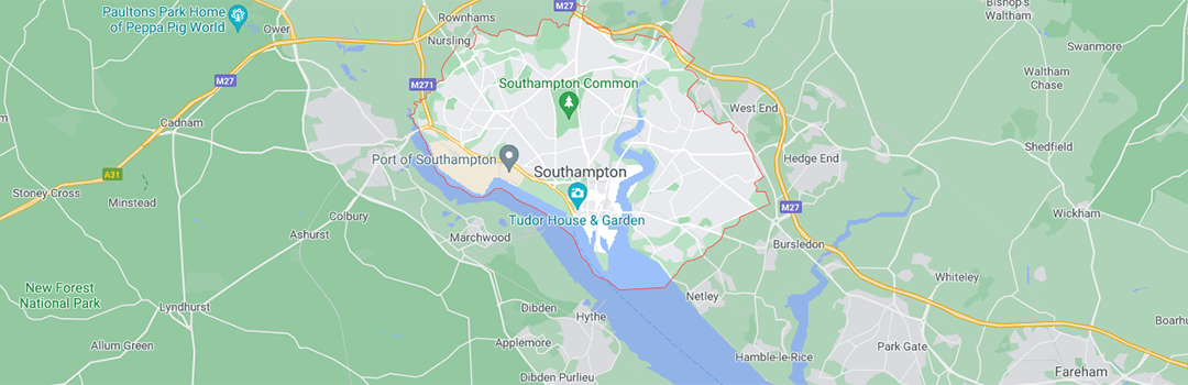 Map of Southampton and the surrounding areas