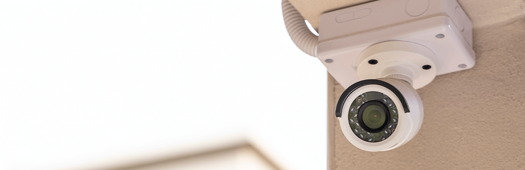 Wired white security camera