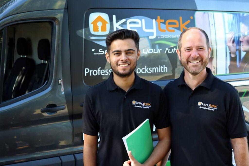 Keytek Locksmiths staining outside of van